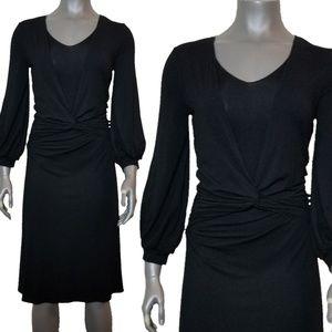 BCBG Max Azaria Black Long Sleeve Wrap Front Dress